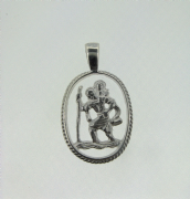 Sterling silver cut out st christopher pendant with rope edges 1.65g